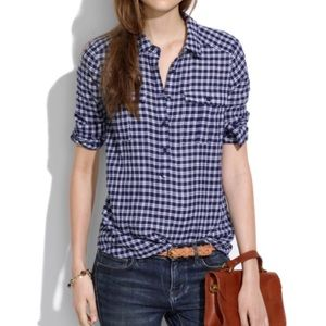 Madewell Gingham Market Popover Blue Long Sleeve